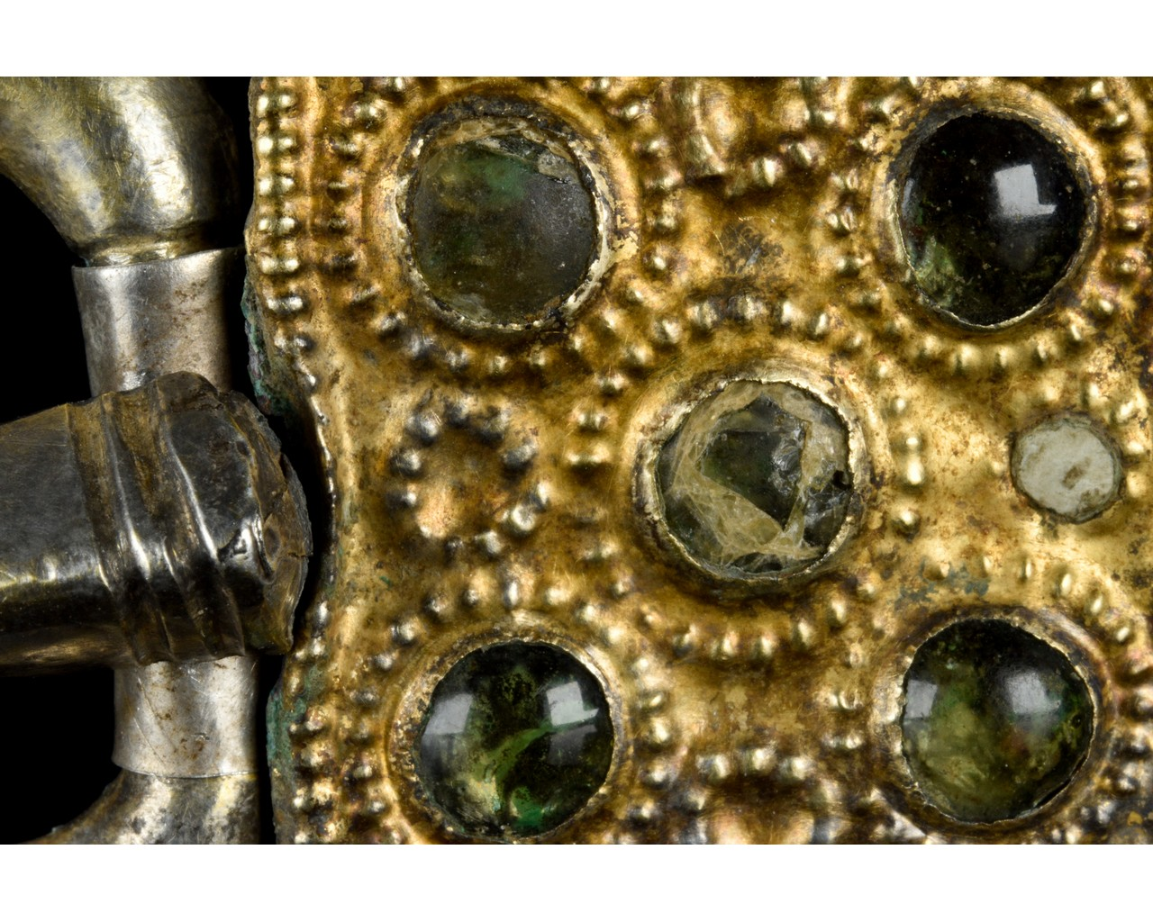 MEDIEVAL MEROVINGIAN SILVER BUCKLE WITH GEMS - Image 4 of 6