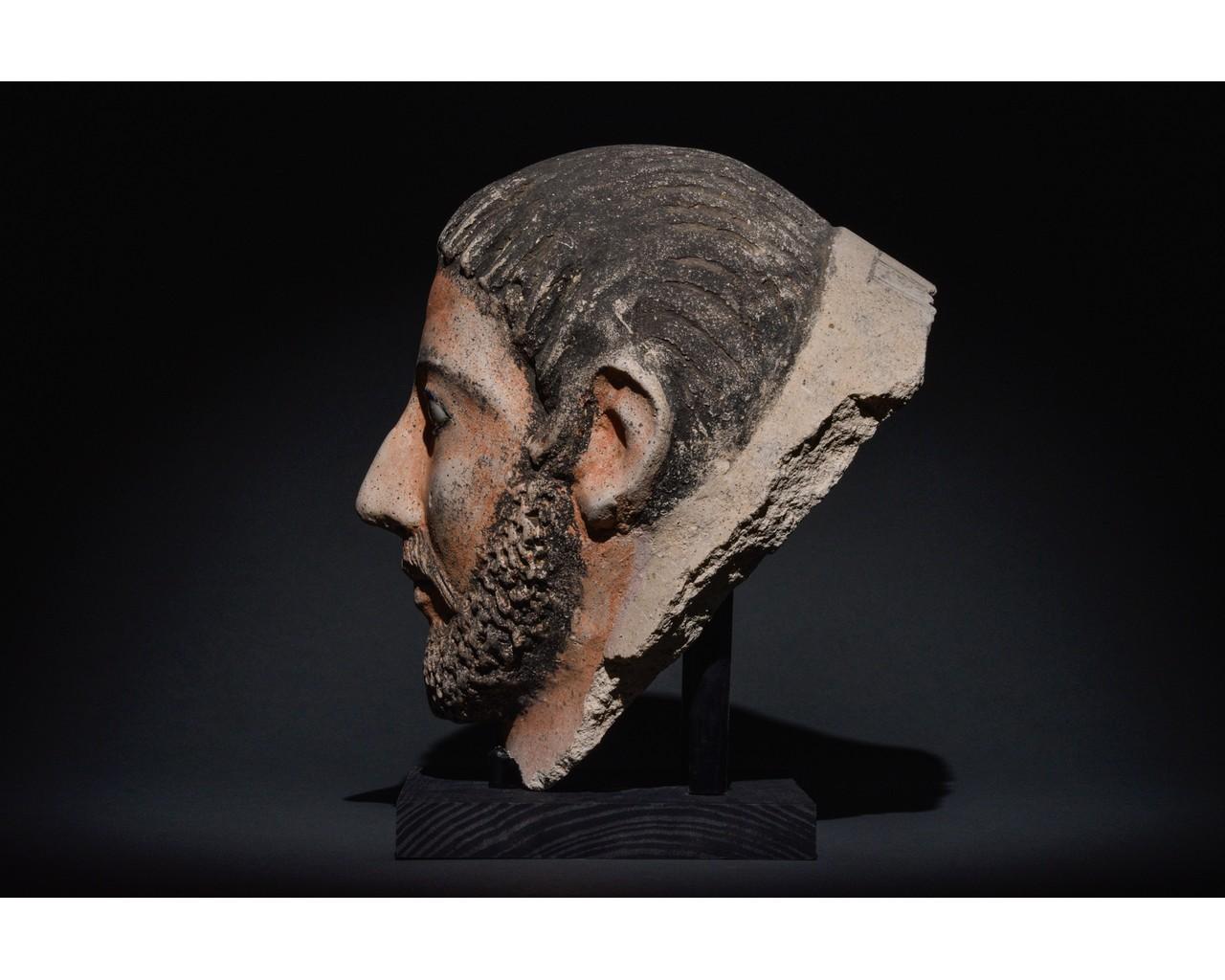 EGYPTIAN GRECO-ROMAN CERAMIC FACE - Image 3 of 9