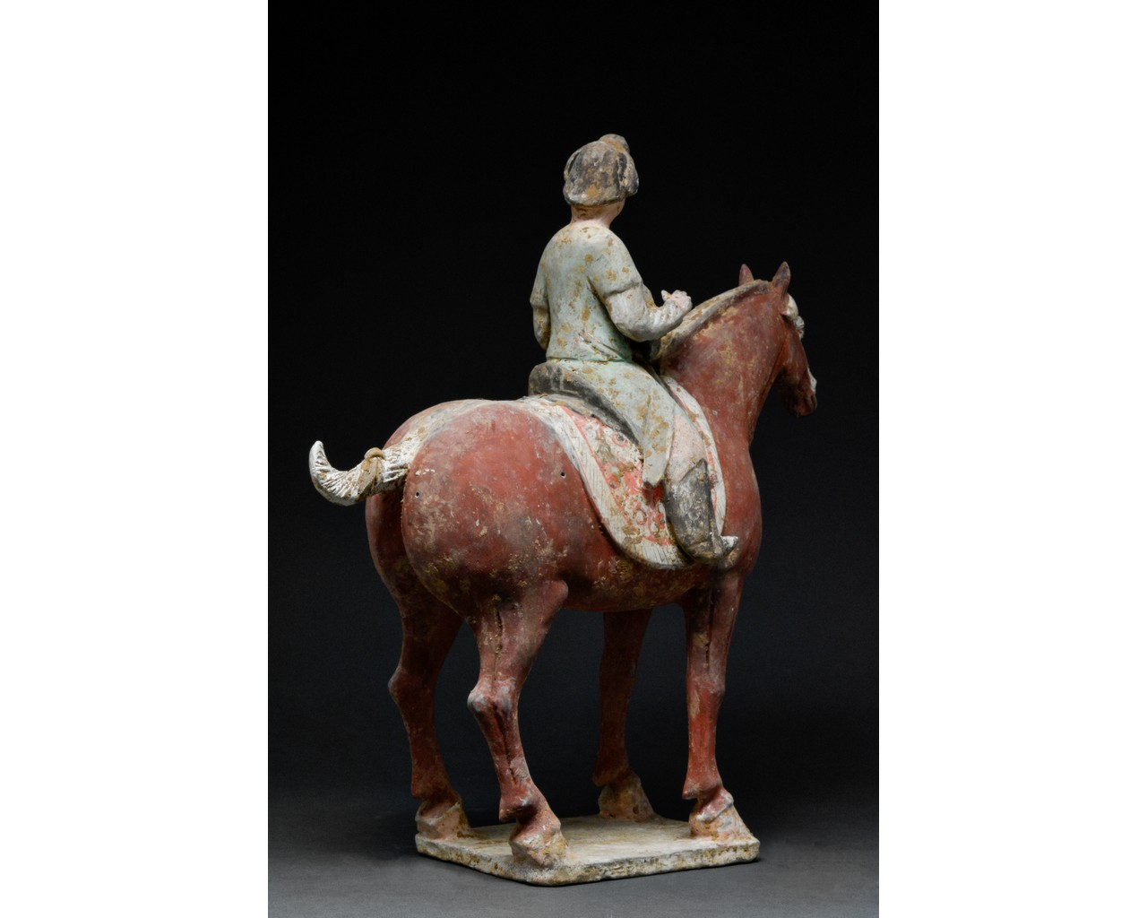 CHINESE TANG TERRACOTTA MUSICIAN ON HORSEBACK - TL TESTED - Image 3 of 7