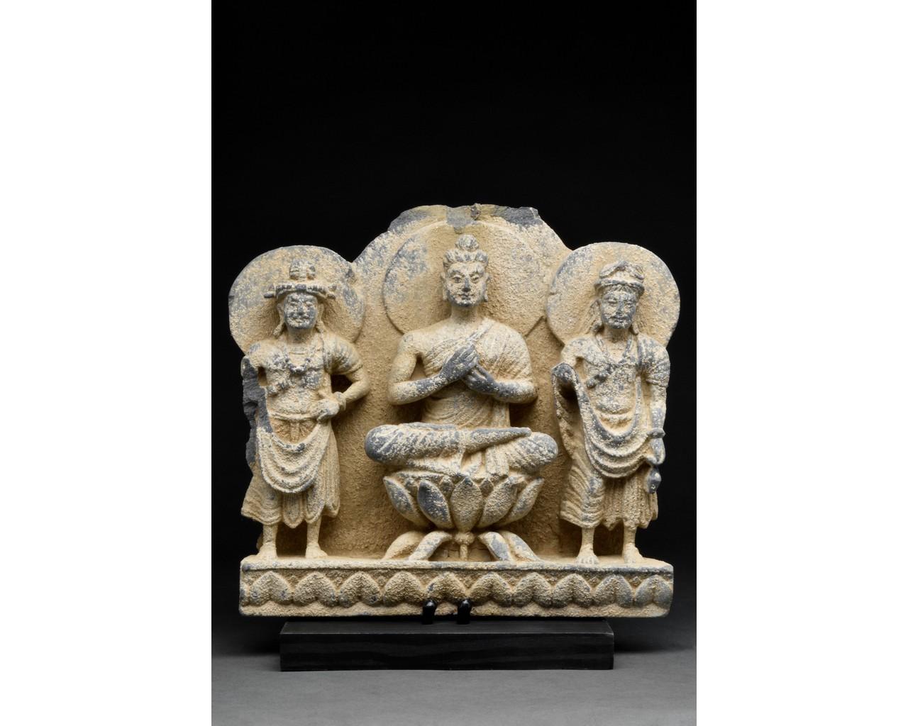 GANDHARA SCHIST STONE PANEL WITH THREE BUDDHAS