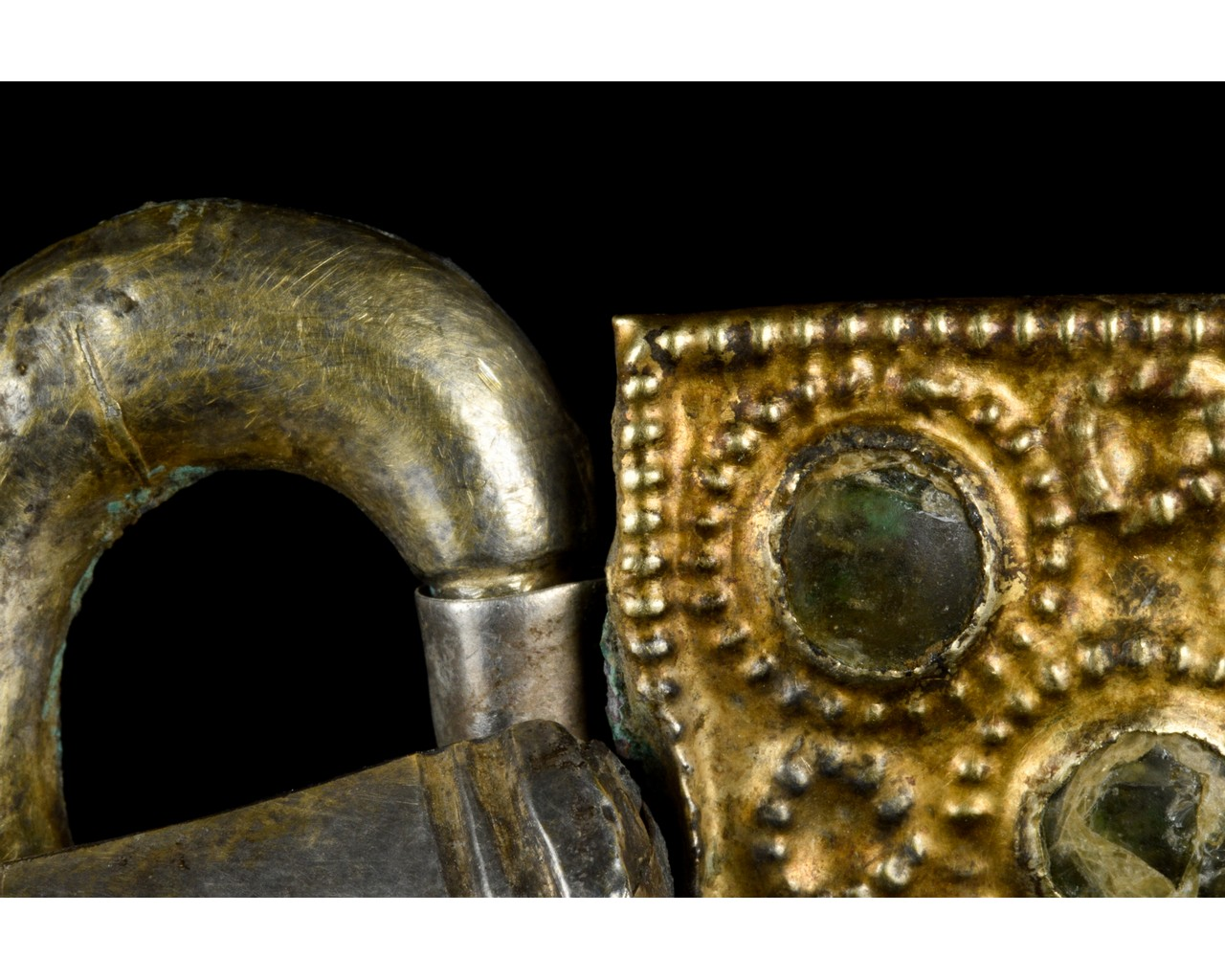 MEDIEVAL MEROVINGIAN SILVER BUCKLE WITH GEMS - Image 6 of 6