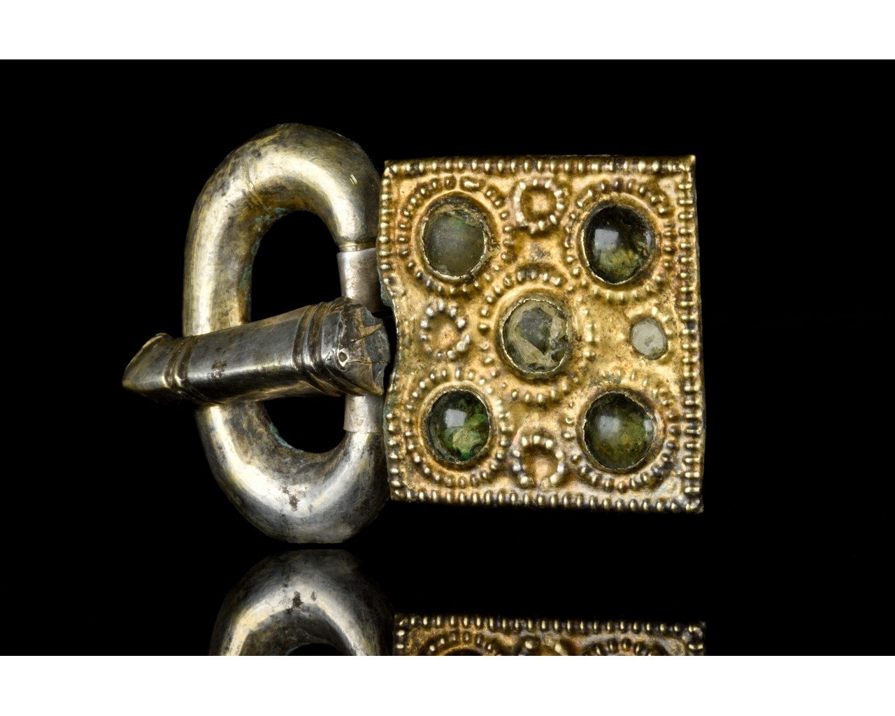 MEDIEVAL MEROVINGIAN SILVER BUCKLE WITH GEMS - Image 2 of 6