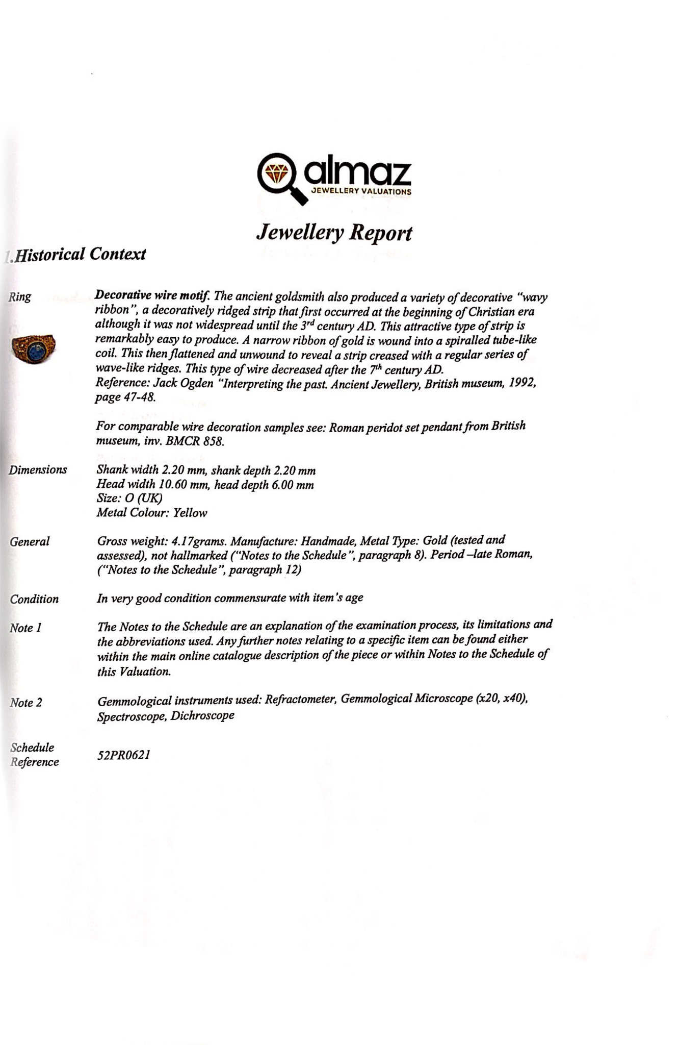 LATE ROMAN GOLD AND GLASS RING - EX CHRISTIES - FULL ANALYSIS - Image 7 of 8