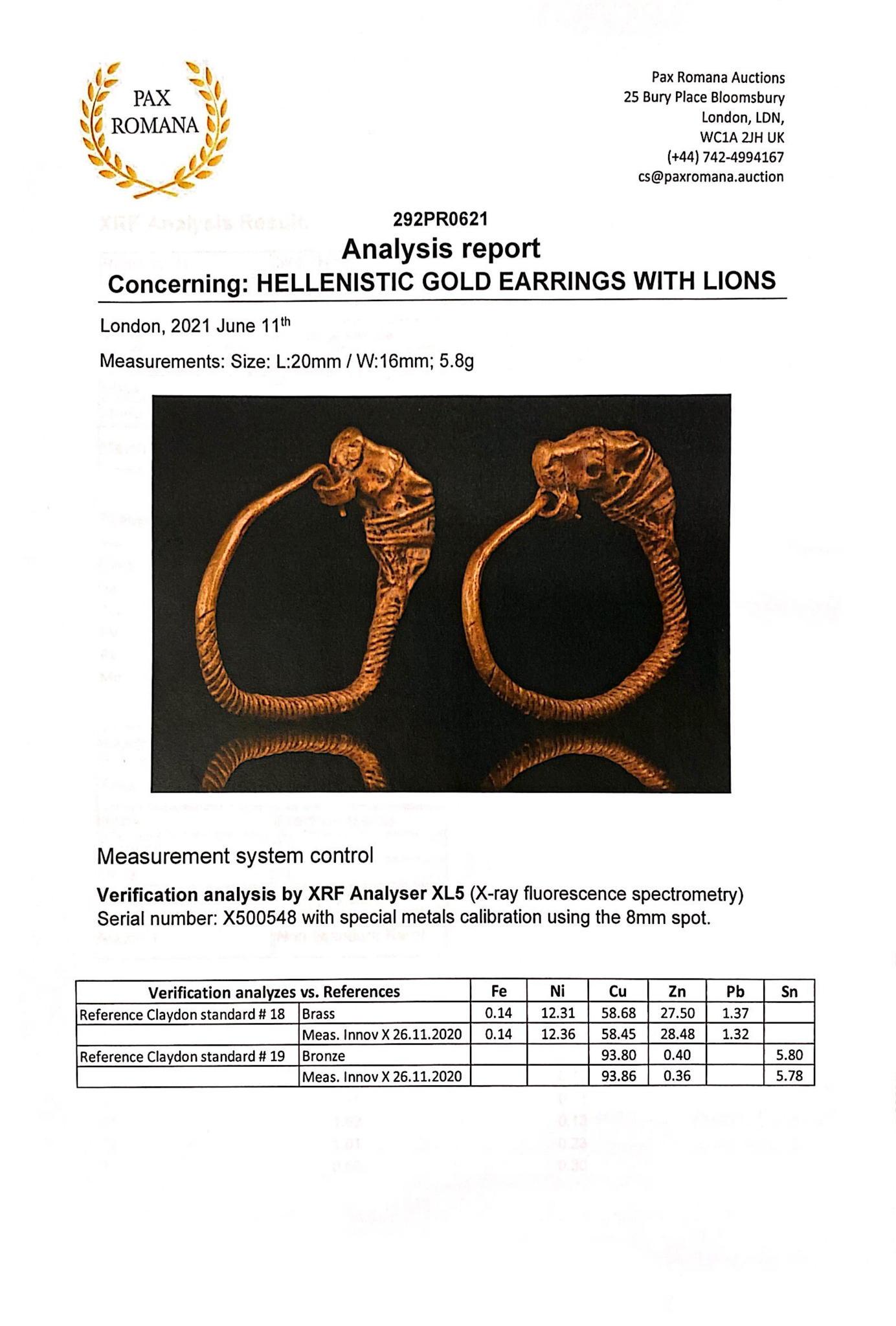 HELLENISTIC GOLD EARRINGS WITH LIONS - XRF TESTED - Image 7 of 8
