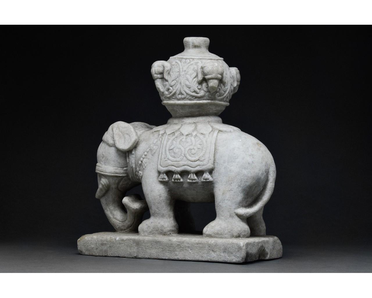 CHINESE MING DYNASTY MARBLE ELEPHANT - Image 3 of 6