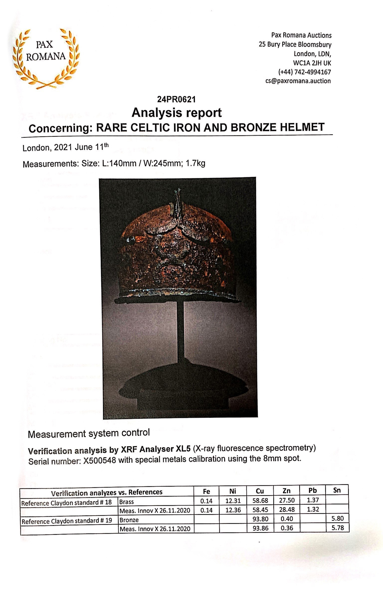 RARE CELTIC IRON AND BRONZE HELMET - XRF TESTED - Image 7 of 8