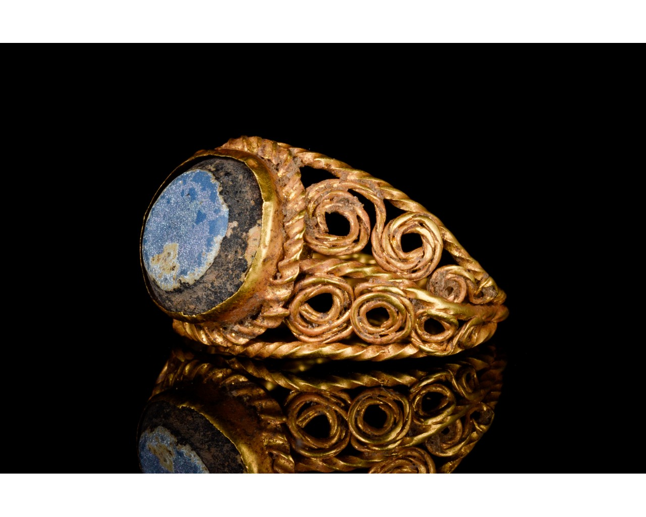 LATE ROMAN GOLD AND GLASS RING - EX CHRISTIES - FULL ANALYSIS