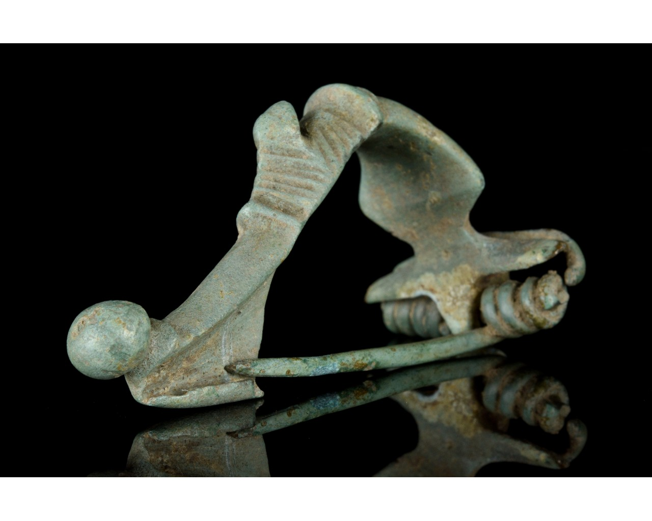 ROMAN TRUMPET HEADED BOW BROOCH WITH DUCK - Image 2 of 7