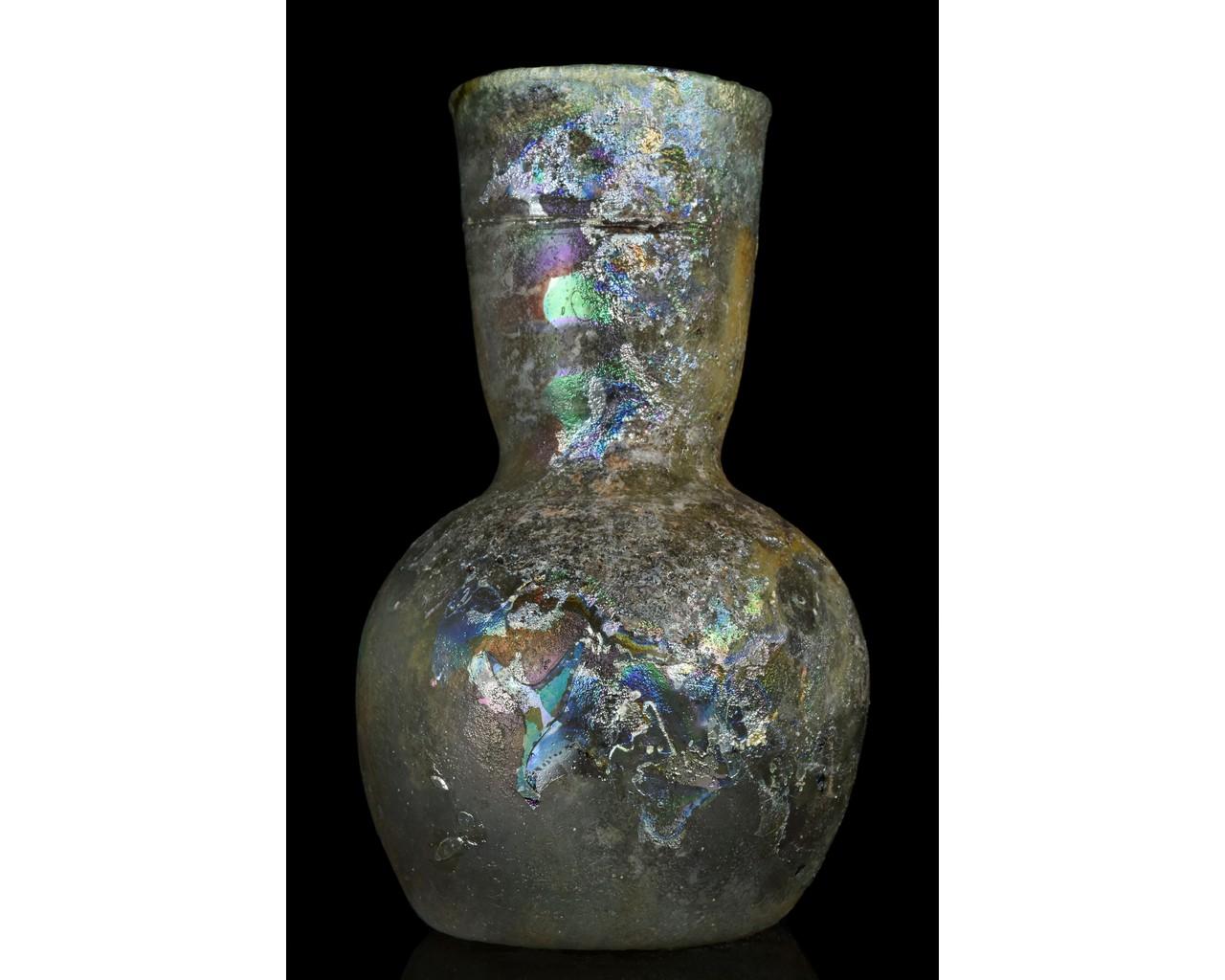 TALL ROMAN GLASS FLASK