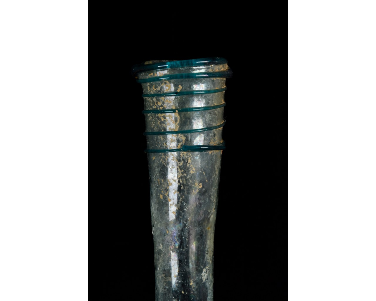TALL ROMAN GLASS FLASK WITH TRAIL - Image 5 of 8