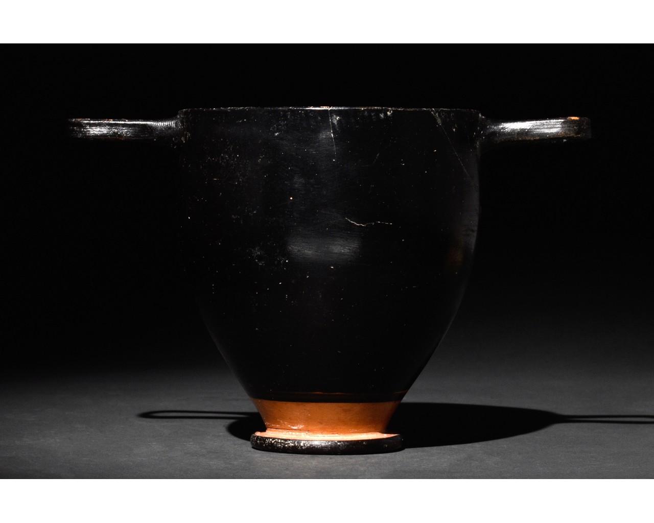 GREEK APULIAN BLACK-GLAZED POTTERY SKYPHOS - Image 3 of 6