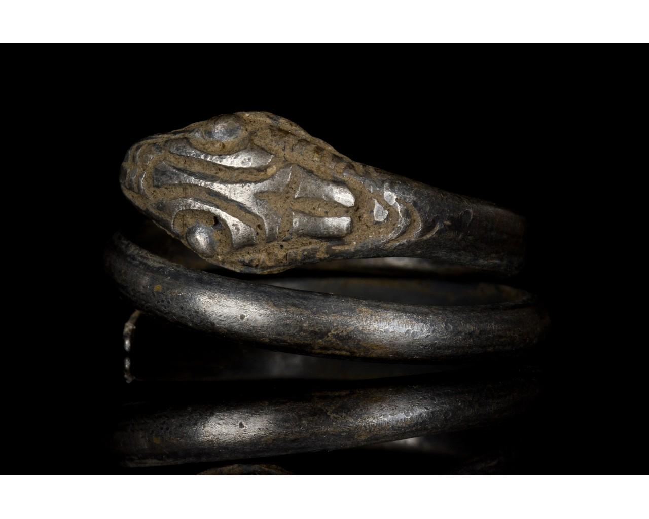 ROMANO-EGYPTIAN SILVER SNAKE RING