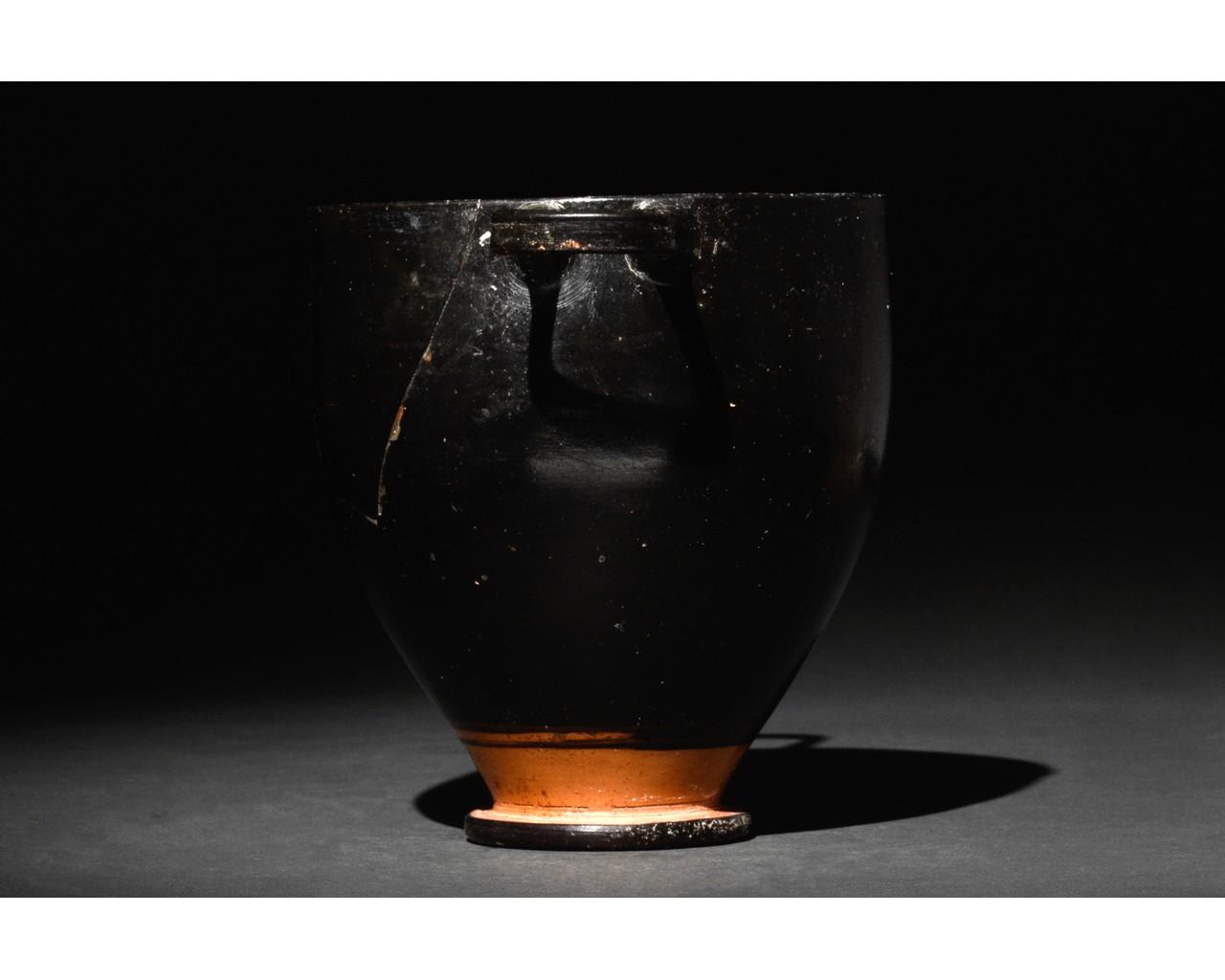 GREEK APULIAN BLACK-GLAZED POTTERY SKYPHOS - Image 2 of 6