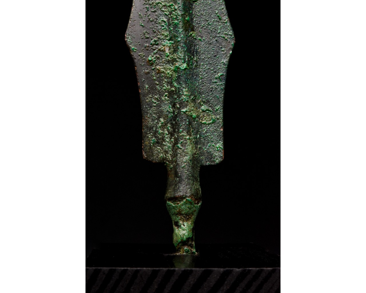 ANCIENT BRONZE SPEAR ON STAND - Image 6 of 6