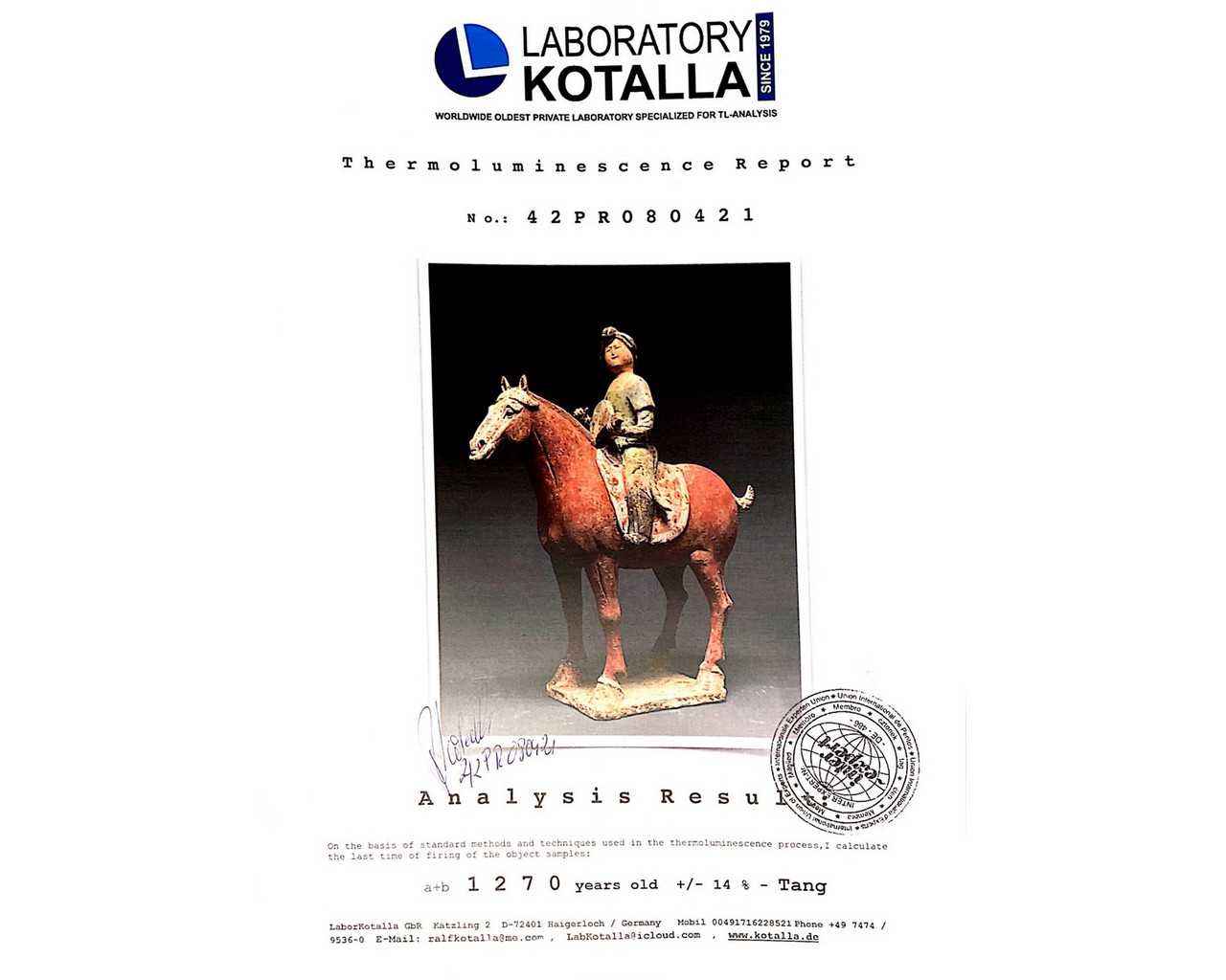 CHINESE TANG TERRACOTTA MUSICIAN ON HORSEBACK - TL TESTED - Image 7 of 7