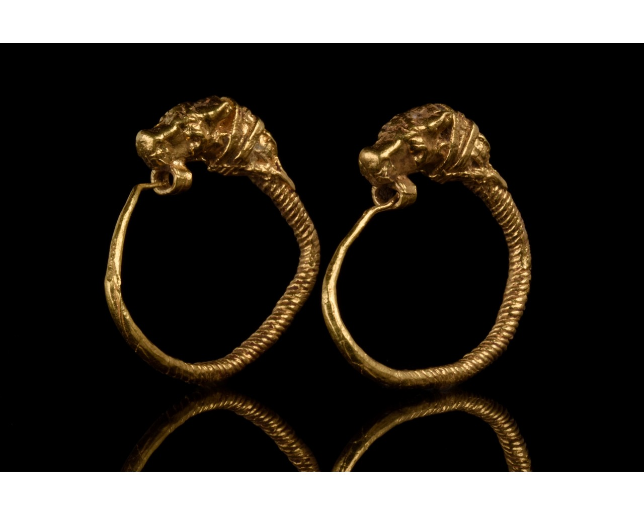 GREEK HELLENISTIC GOLD EARRINGS WITH LIONS - FULL ANALYSIS