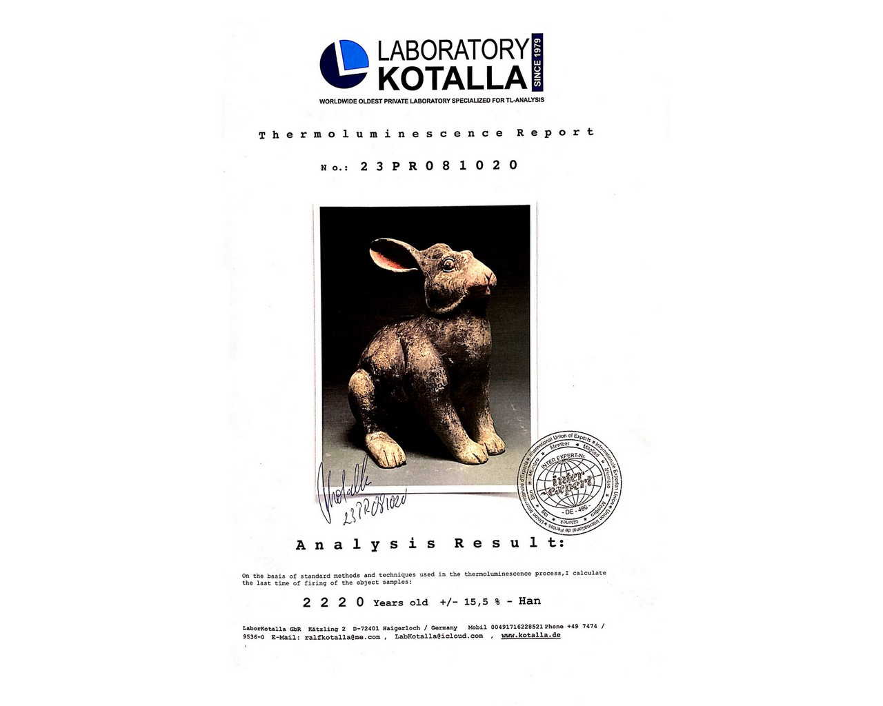 CHINESE HAN DYNASTY TERRACOTTA RABBIT - TL TESTED - Image 5 of 5