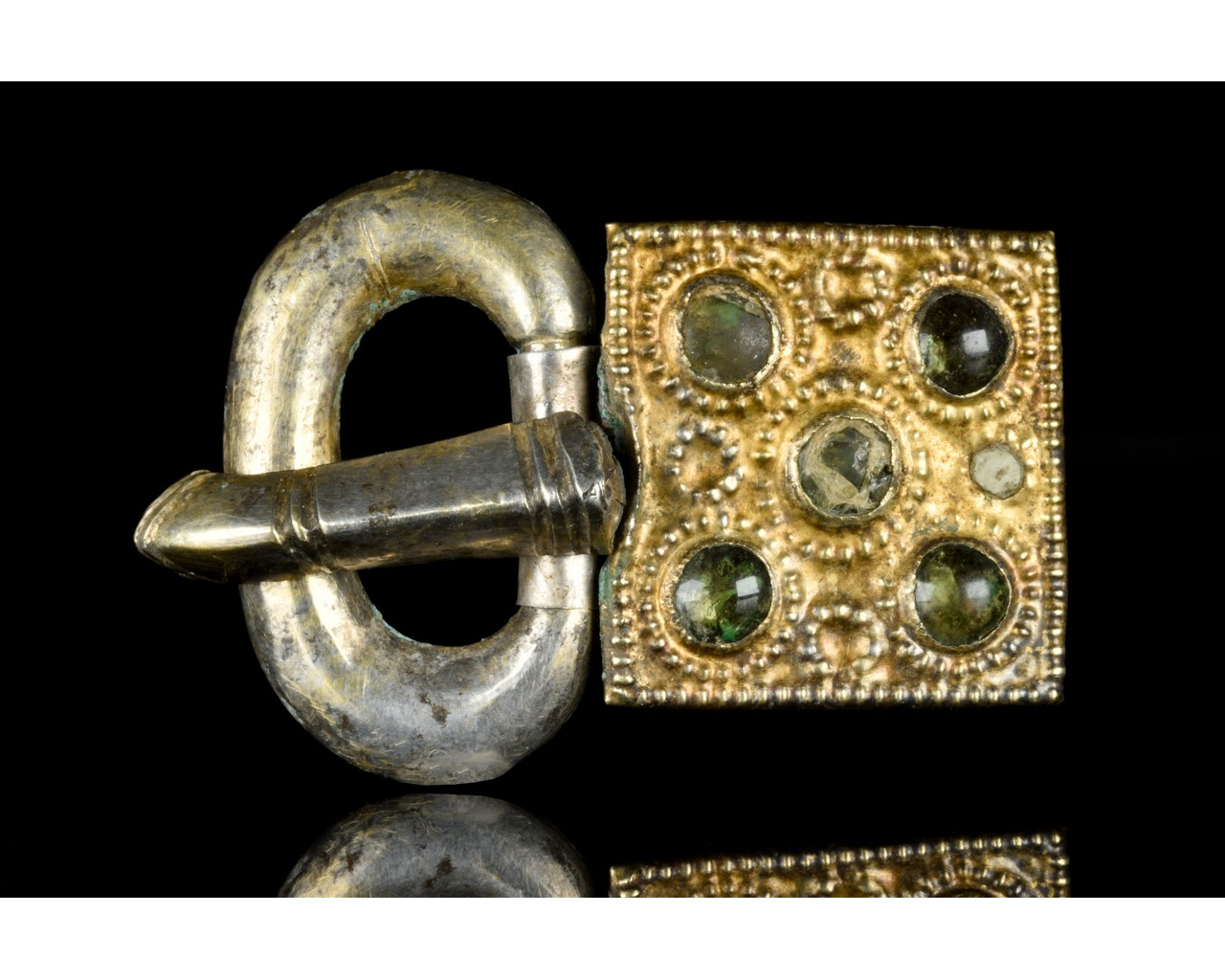 MEDIEVAL MEROVINGIAN SILVER BUCKLE WITH GEMS