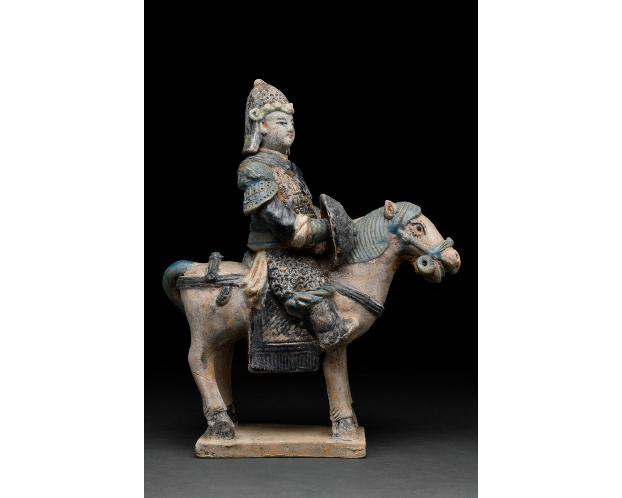 CHINESE MING DYNASTY HORSE AND RIDER FIGURE - Image 2 of 5