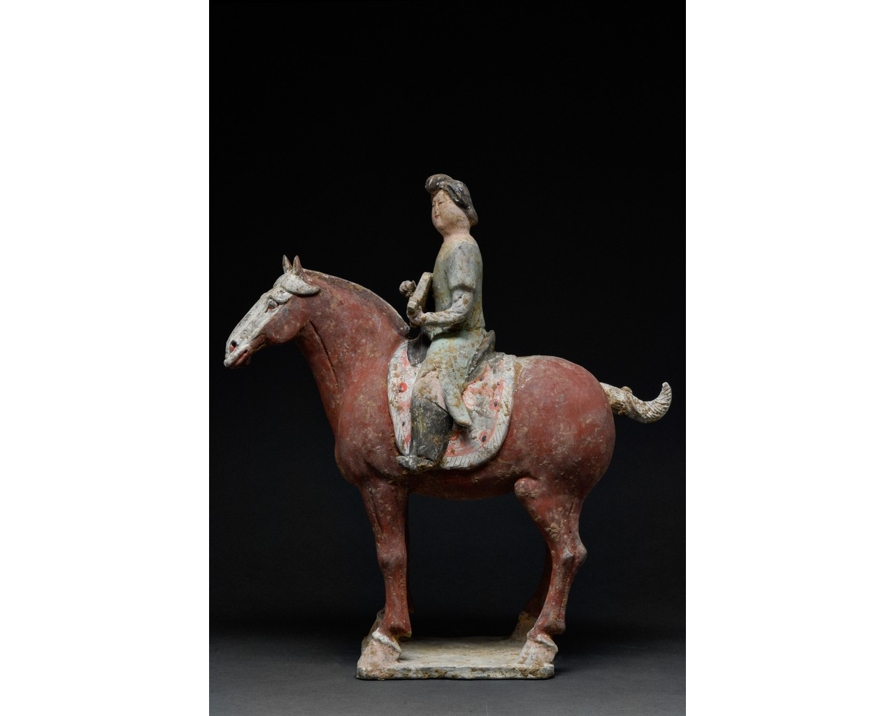 CHINESE TANG TERRACOTTA MUSICIAN ON HORSEBACK - TL TESTED - Image 2 of 7