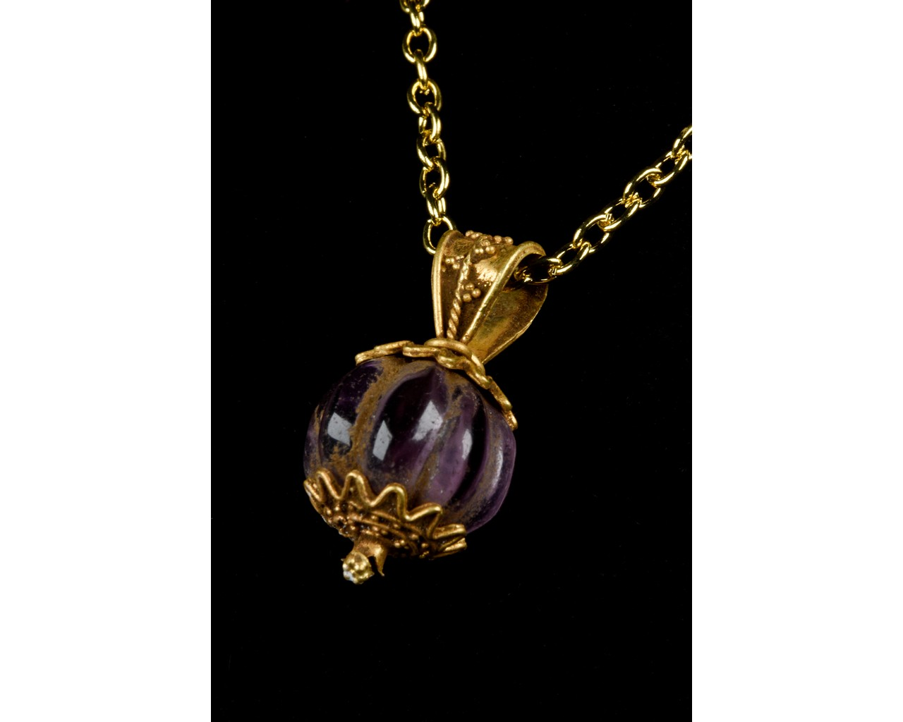 ANCIENT GREEK GOLD PENDANT WITH AMETHYST STONE - FULL ANALYSIS - Image 2 of 8