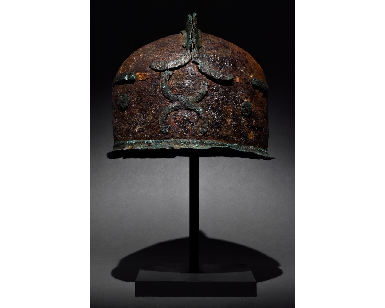 RARE CELTIC IRON AND BRONZE HELMET - XRF TESTED