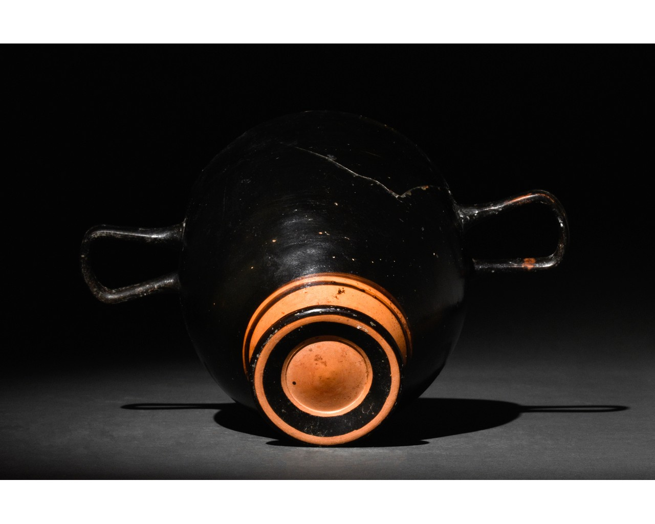 GREEK APULIAN BLACK-GLAZED POTTERY SKYPHOS - Image 5 of 6