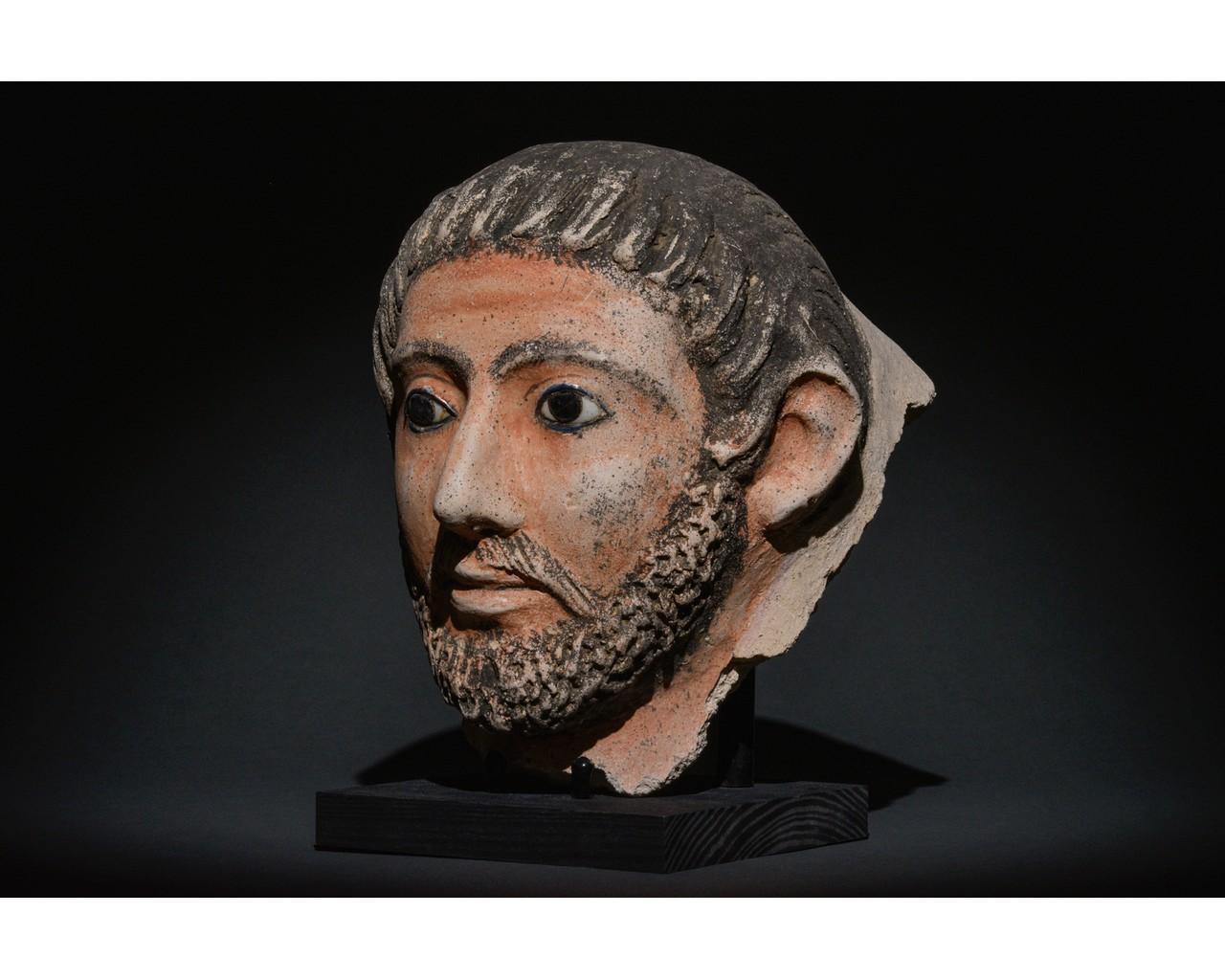 EGYPTIAN GRECO-ROMAN CERAMIC FACE - Image 2 of 9