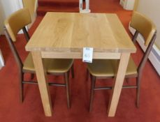 Medium Oak Square Dining Table 70cm., Square Supports & Two Zenga Beech Framed Dining Chairs, Shaped