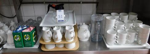 Teapots, Jugs, Toast Stands, Cups, Saucers, Glassware, Milk Jugs Etc (Location Bloomsbury - See
