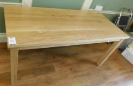 Medium Oak Rectangular Dining Table and Medium Oak Glass Top Serving Table 145cm x 60cm., Square