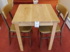 Medium Oak Square Dining Table 70cm., Square Supports and Two Zenga Beech Framed Dining Chairs,
