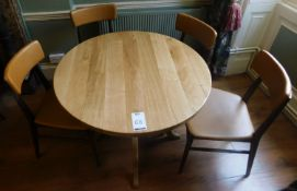 Medium Oak Circular Dining Table 110cm dia., Central Turned Column, Arched Tripod Supports (split