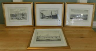 """Set Of Four Framed & Mounted Reproduction Prints, London Landscape (Image 8"""" x 12"""") (Location"""