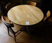 Medium Oak Circular Dining Table, Central Turned Column, Arched Tripod Supports & Four Zenga Beech