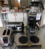 Bravilor Bonimat Novo Coffee Maker, Buffalo L413 Twin Coffee Jug Hot Plate, Russell Hobs Toaster & a