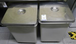 Two Caterlife Commercial Ingredient Bins with Stainless Steel Lids (Location Bloomsbury - See
