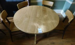 Medium Oak Circular Dining Table, Central Turned Column, Arched Tripod Supports (split table