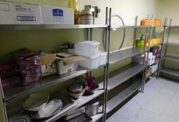 Five, 4-Tier Stainless Steel Light Weight Racking Shelf Units (Excluding Contents) (Location