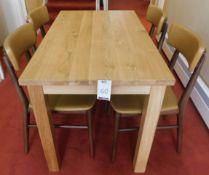 Medium Oak Rectangular Dining Table 120cm x 70cm., Square Supports & Four Zenga Beech Framed