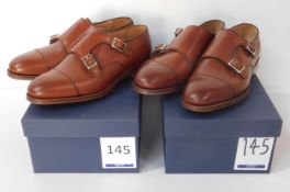 2 Pairs of Alfred Sargent 02801 Double Buckle Brown CAP Monk Sizes 6.5 & 7 (Slight Seconds) (
