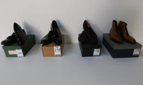 Alfred Sargent Carlo Black Patent Loafer Size 10, Unbranded Brown Suede Loafers (missing insoles)