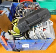 Miscellaneous Items Comprising; Car Battery Chargers, Extension Leads, Screws & Clamp (Location: