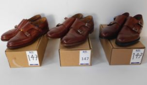 2 Pairs of Alfred Sargent Double Buckle Monk CAP Size 11.5 Alfred & Sargent Autumn Brown Double