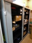 Contents of Storeroom including: Two 2m Roller Shutter Front Cabinets, 3-Drawer Filing Cabinet &