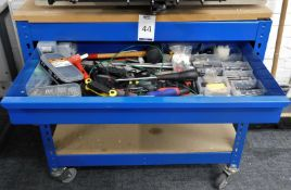 Mobile Boltless Steel Bench Fitted Single Drawer & Quantity of Hand Tools (Location: Hatfield -