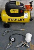 Stanley 1.5 HPO, 24 ltr 8 Bar Portable Compressor & Four Pneumatic Attachments (Location: Hatfield -
