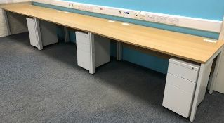 Four Beech Effect Workstations & Three, 3-Drawer Pedestals (Location: Hatfield - See General Notes