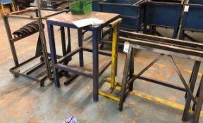 2 Trestles, Metal Table, 2 Adjustable Stands & Mobile Unit (Location: Kettering - See General