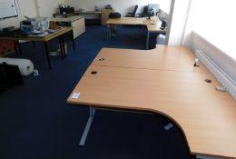 5 Desks, 4 Tables & Two-Door Cabinet (Location: Milton Keynes - See General Notes for More Details)